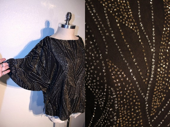 33% OFF SALE // 1980s Vintage DISCO Glitter Top // Slouchy Oversized Fit // Dolman Sleeves