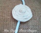 Fabric Flower Headband, Cream Rosette with Pearl, Elastic
