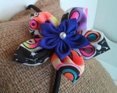 Fabric Flower Headband, Double Frangipani, Retro & Purple, Elastic