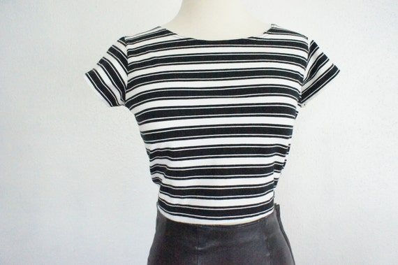 90s Grunge Crop Top Striped Black White Blouse Size Small