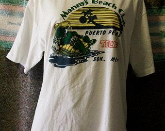 Mannys beach club mexico turtle shirt size L