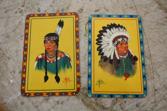 Vintage Duratone playing cards Native Americans