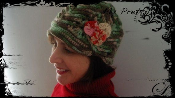 CIJ SALE Crochet Hat Crochet Cloche Fabric Flowers Green Hat Handmade Crochet by MyPrettyBabi