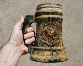 Stein, Mug, Tankard. Knight and Dragon design. Game of Thrones stein. Rustic melting amber.