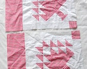 Two Vintage PINETREE QUILTBLOCKS, Red White Check, hand sewn, Assembledge, mid century