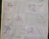 Vintage CHILDS EMBROIDERED QUILT, nursery rhymes, crib blanket
