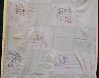 Vintage CHILDS EMBROIDERED QUILT, nursery rhymes, crib blanket