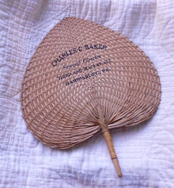 Vintage WOVEN STRAW FAN, Funeral Director, collectible, advertising, kitsch fun display