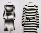 Terrycloth Boat Neck Striped Dress Size Small 1980s Vintage