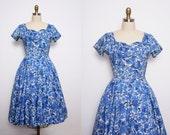 1950s Blue Floral Party Dress Size Small Medium Vintage
