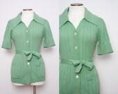 1970s Green Tie Waist Cardigan Sweater Size Small Medium Vintage