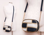 Navy Blue and White Cross Body Purse with Gold Chain Straps 1980s Vintage