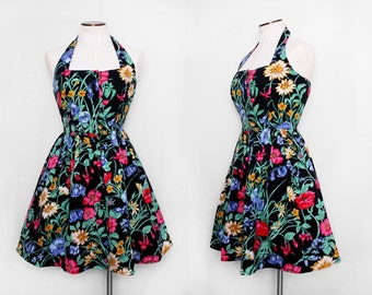 Black Floral Party Dress / Vintage 1980s Floral Halter Sundress Full Skirt / Large
