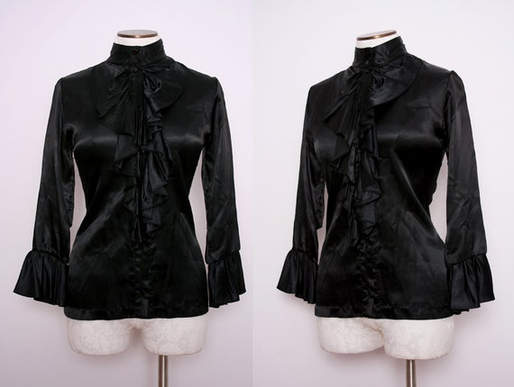 Black Satin Ruffle Blouse High Neck Size Medium Large