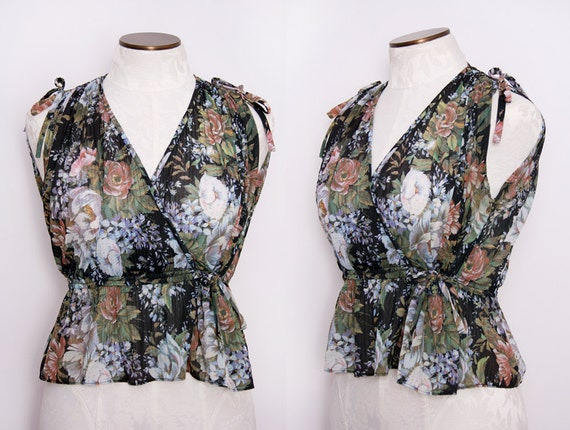 Semi Sheer Cropped Peplum Floral Blouse 1970s Size Small Vintage