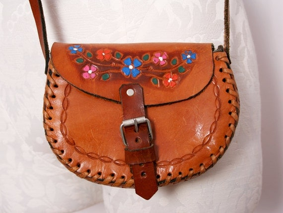 Hand Painted Tooled Leather Small Cross Body Purse with Floral Motif 1970s Vintage