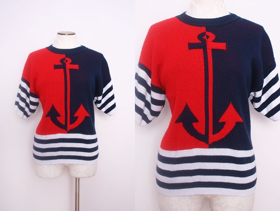 Nautical Anchor Sweater Size Large 1980s Vintage
