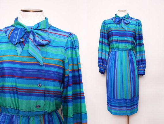 1970s Southwestern Shirtwaist Dress / Vintage 70s Striped Dress / Small Medium