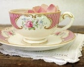 RESERVED Vintage Pink Rose Tea Cup and Saucer by Myott Stafforshire