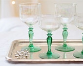Vintage Green Stemed Wine/Cordial/Sherry Glasses - Set of 4