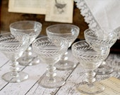 Vintage Etched Cut Glass Champagne Glasses - Set of 6