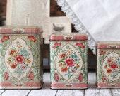 Vintage Daher Designed Holland Floral Tins/Canisters - Set of 3