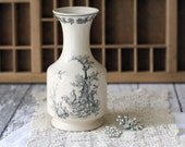 Vintage French Style Stoneware Carafe or Vase - Cream and Black Rooster Scene