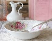 Vintage Bavarian/German Style Rose, Pink & Gold Vegetable Serving Bowl