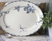 Antique French Terre de Fer (Ironstone) Platter - Blue birds and flowers - circa 1890's by H.B. & C