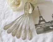 Antique French Silver plate Tea Spoons Set of 6 - by Chambly - S.F.A.M - circa 1890's - RARE
