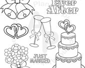 Black and White Wedding digital clip art set, digital stamps clipart personal and commercial use