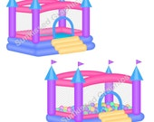 Pink Blue Bouncy Bounce House Castle Ball Pitt, digital clip art set, personal and commercial use digital download