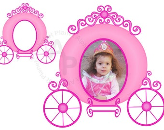 Pink Princess carriage picture frame digital clip art , clipart personal and commercial use digital download