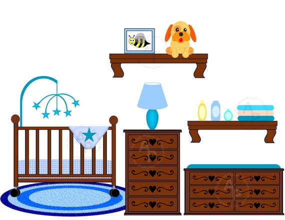 Baby Boy Nursery Crib Changing Table Digital Clip Art Set
