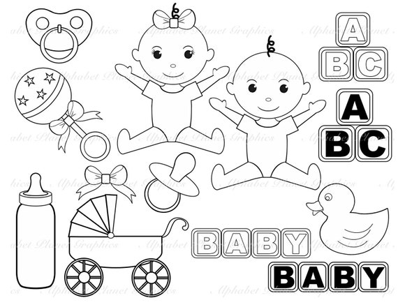 Black and White Baby digital clip art set digital stamps