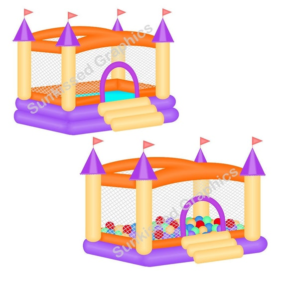 Orange purple Bouncy Bounce House Castle Ball Pitt, digital clip art set, personal and commercial use digital download
