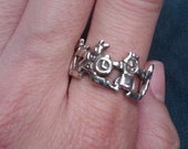 Sterling Silver 925 Alice in Wonderland Character Ring