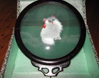 Framed Silk Cat Under Glass with Broken Stand