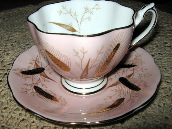 Queen Anne Pink and Gold Wheat Teacup and Saucer