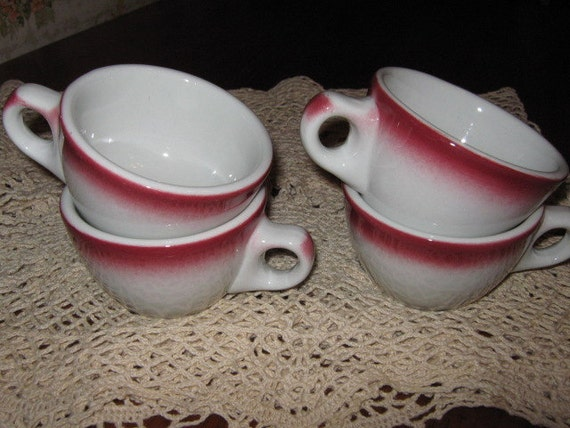 Four Caribe Restaurant Ware Coffee Cups