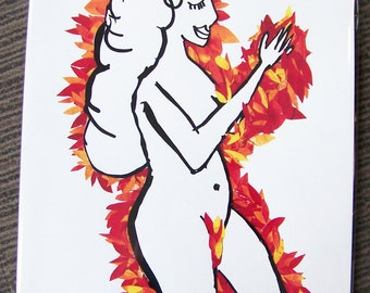 Lady In The Leaves A4