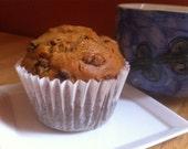 6 Large Vegan Pumpkin Raisin Muffins - A 2 Pound Package