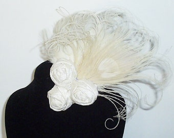 Ivory Peacock Feather and Silk Rosette Bridal Hair Clip