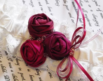 Pink Silk and Lace Garter with Hand Rolled Silk Rosettes