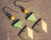 RESERVED FOR ANN nielle.  a pair of green and mustard geometric chevron earrings.