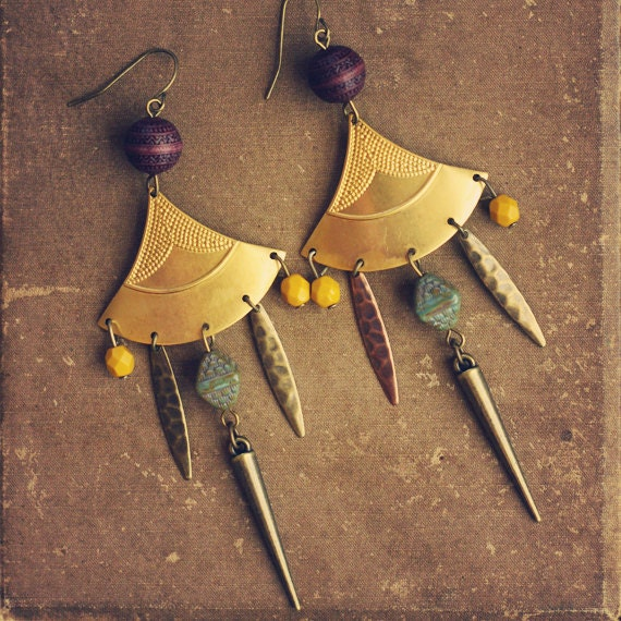 larkin.  a pair of tribal inspired shield and spike earrings.