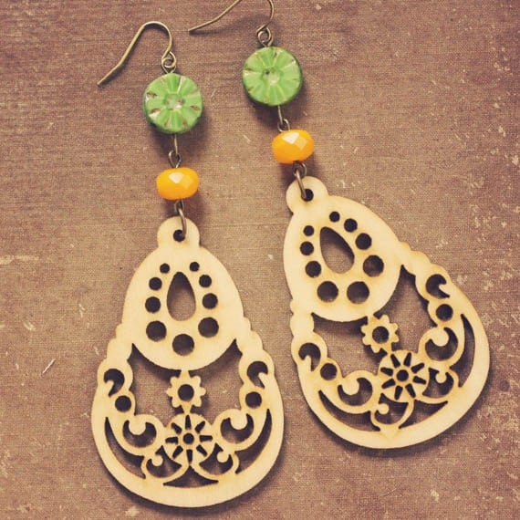 india.  a pair of lime and mango beaded wood drop earrings.