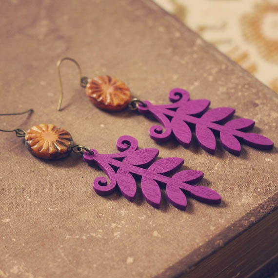 autumn. a pair of purple and amber boho leaf earrings.