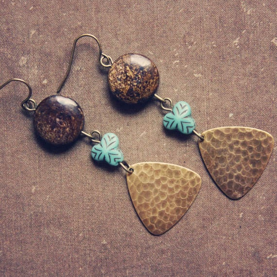 sylvia. a pair of bronze and teal metallic earrings.