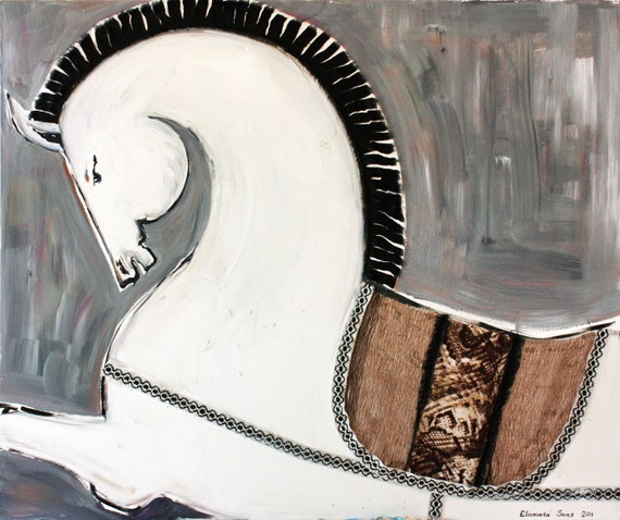 Original oil painting, horse art, WHITE HORSE oil on canvas by Elisaveta Sivas, modern artwork, mixed media, large painting, 39,4' x 47,2'